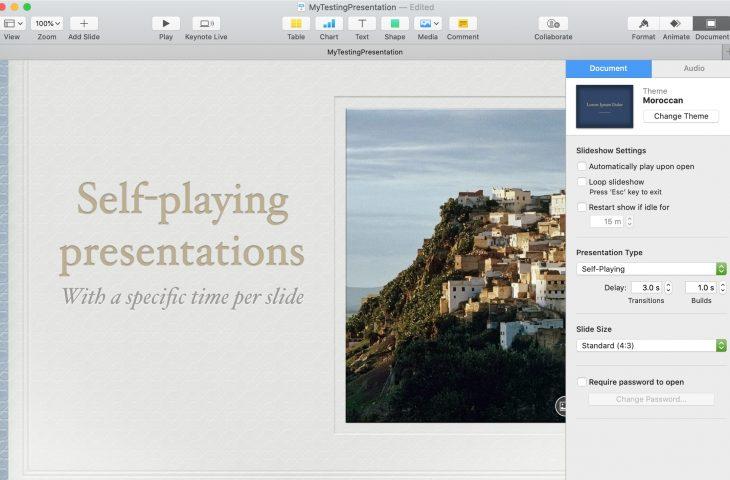 Cara memutar presentasi dan slide waktu secara otomatis di Keynote 1