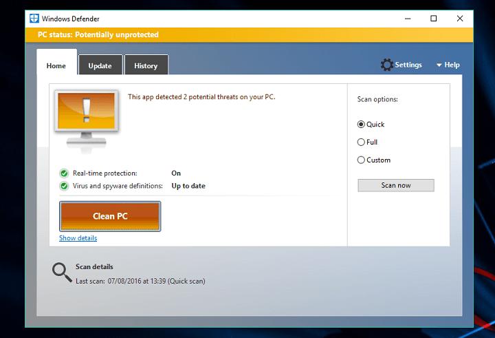 Kuinka skannata Windows 10 kpl Windows Puolustaja offline-tilassa