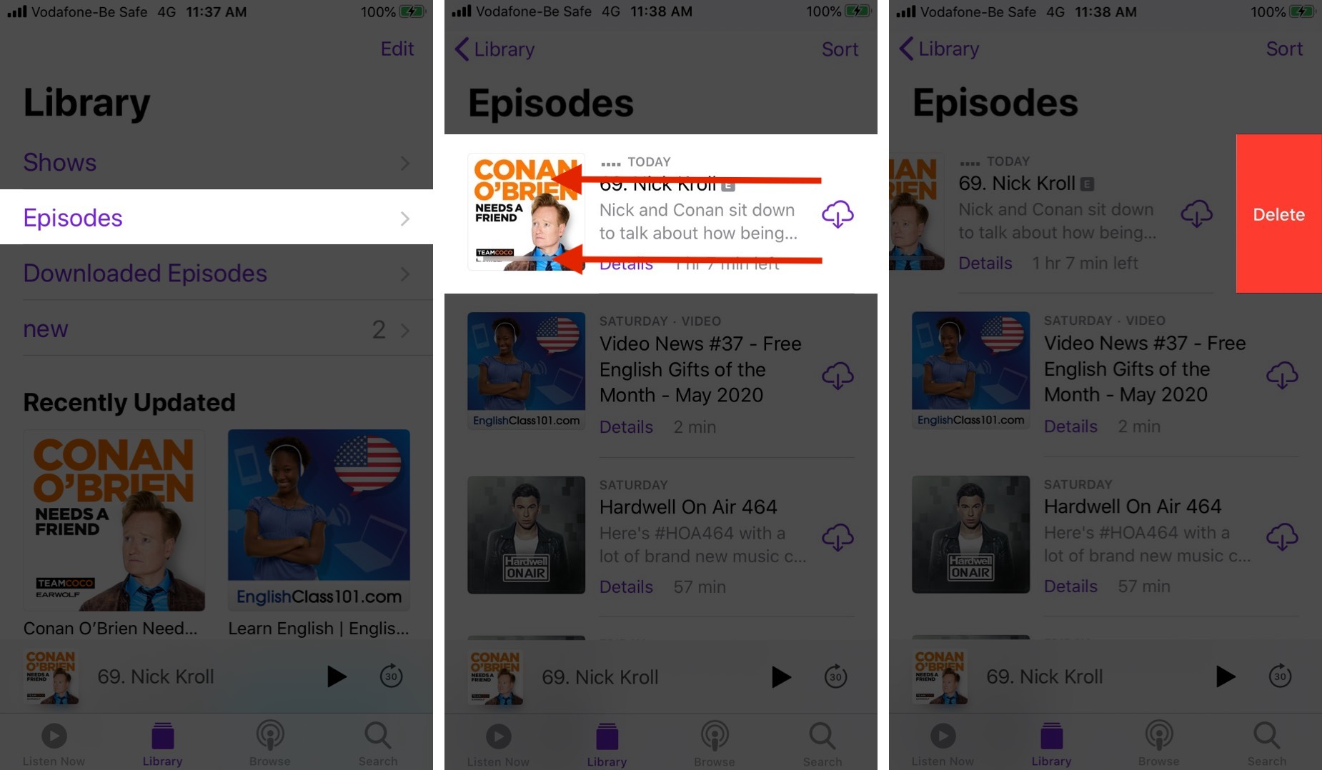 Eliminar episodios de podcast en iPhone