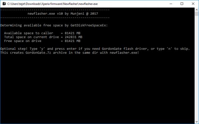Tải xuống Newflasher - Công cụ Flash dòng lệnh Xperia 1
