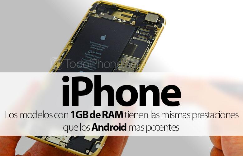 IPhone dengan RAM 1GB memiliki fitur yang sama dengan Android yang paling kuat 1