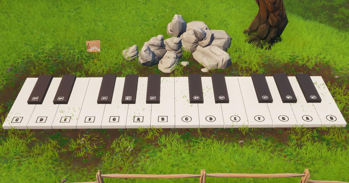 Fortnite misi: Kunjungi piano yang terlalu besar dan mainkan sheet musik Boogie Down guide mission 1