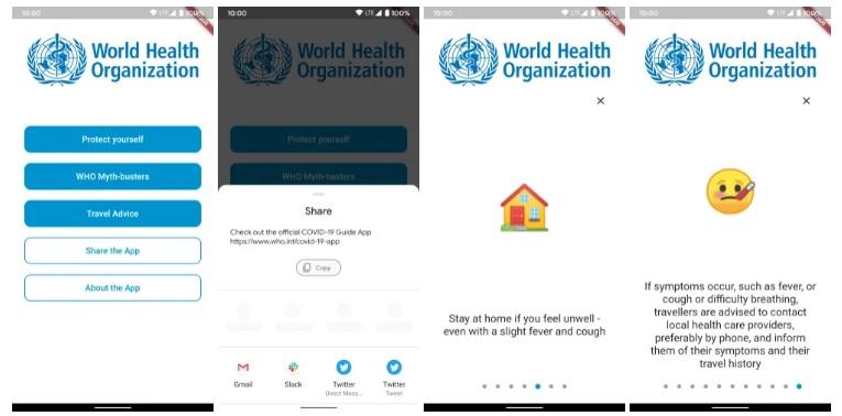 WHO MyHealth App-skärmdumpar