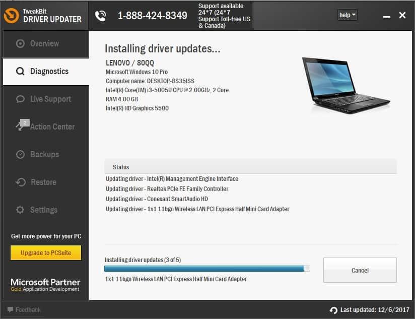 Tweakbit Driver Updater Scan sürücüləri windows 10