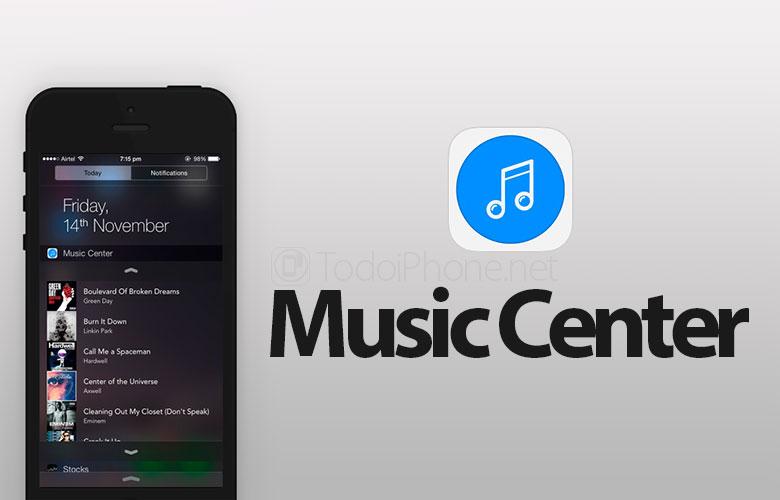 Music Center, Widget untuk mengontrol Musik dari iOS 8 Notifications Center 1