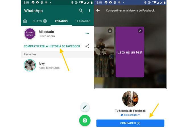 Langkah-langkah untuk berbagi status WhatsApp sebagai kisah Facebook!