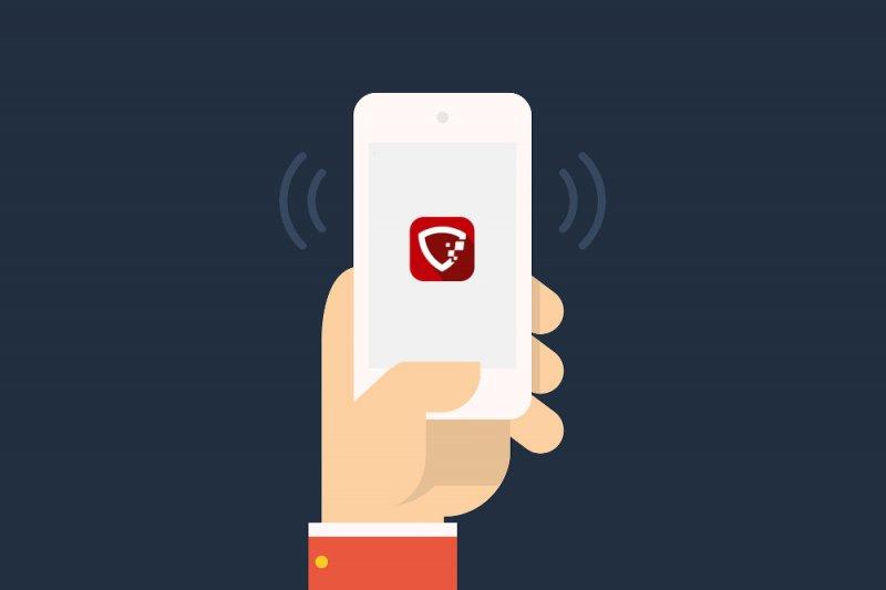 Gráfico de un móvil con el logotipo de Ciberprotector