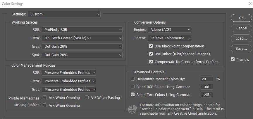 Преобразовать в профиль Adobe Photoshop