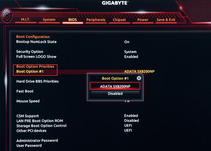BIOS de orden de arranque Gyigabyte