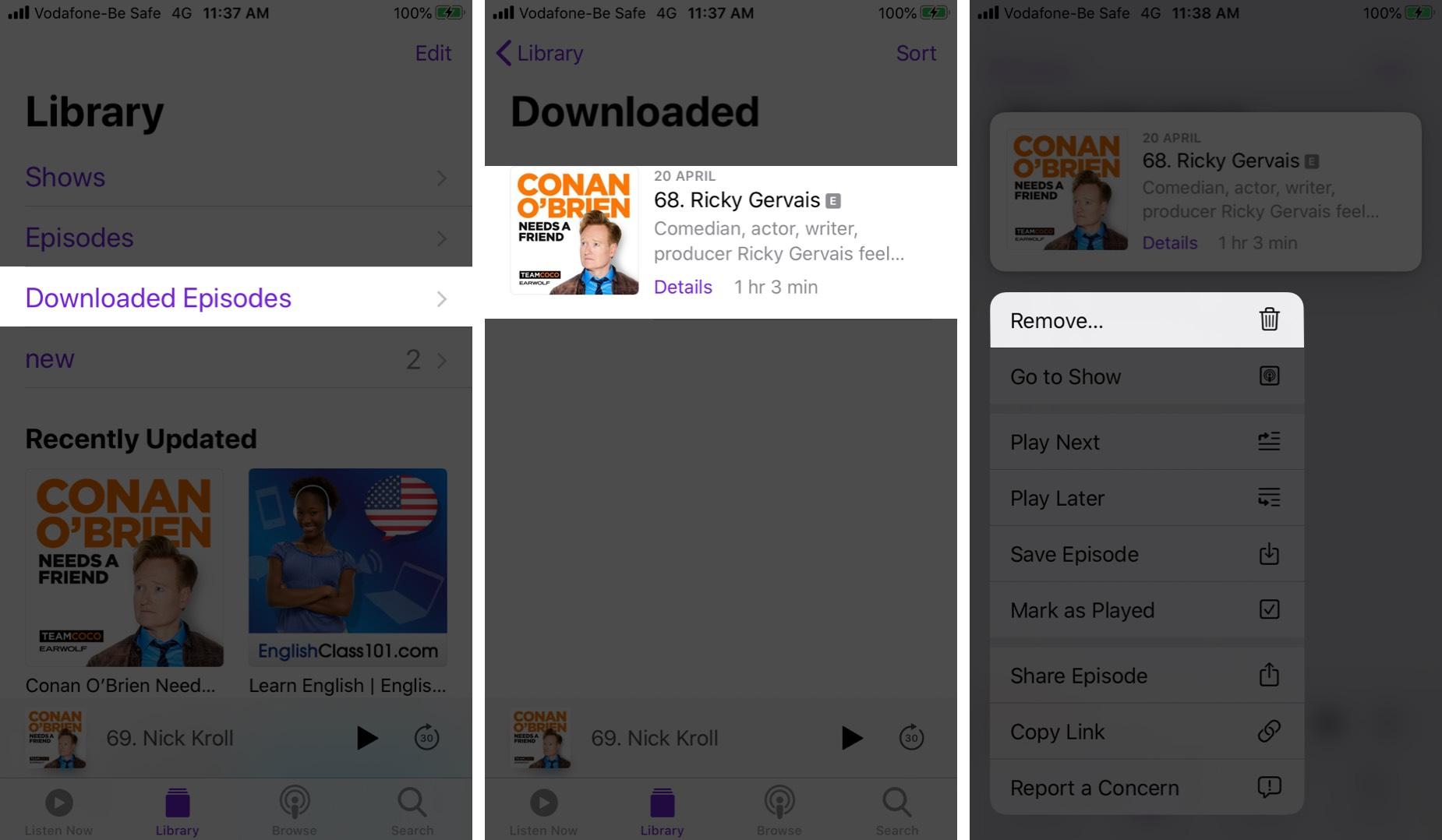 Eliminar episodios de podcasts descargados en la aplicación Podcasts en iPhone