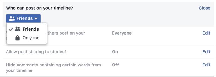 كيفية تعطيل التعليقات الخاصة بك Facebook الجدول الزمني والجدار والملف الشخصي 1