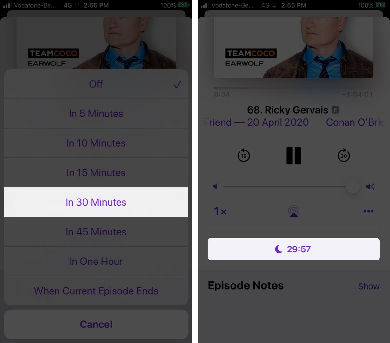 Configurar Sleep TImer en la aplicación Podcasts en iPhone