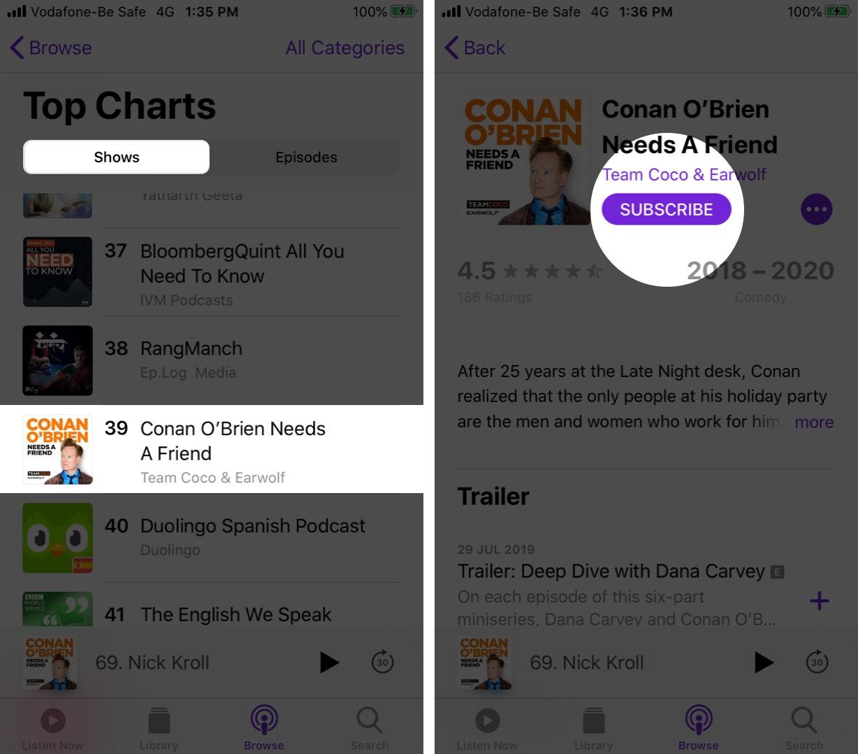 Suscríbete a la aplicación Shows in Podcasts en iPhone