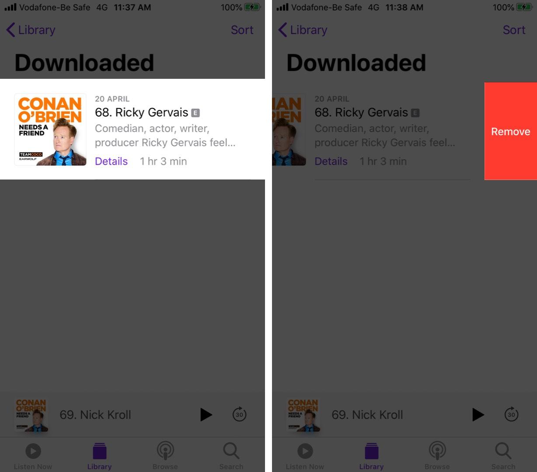 Toque Eliminar para eliminar episodios descargados en Podcast en iPhone