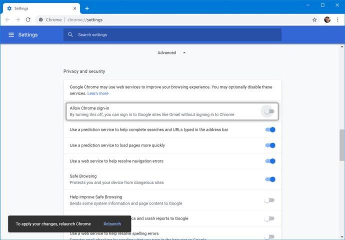 avtomatik girişi deaktiv edin Chrome