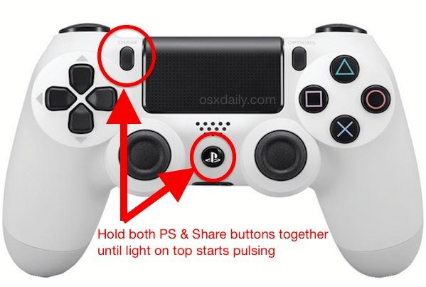 Conecte el controlador PS4 a la Mac colocándolo en modo de emparejamiento