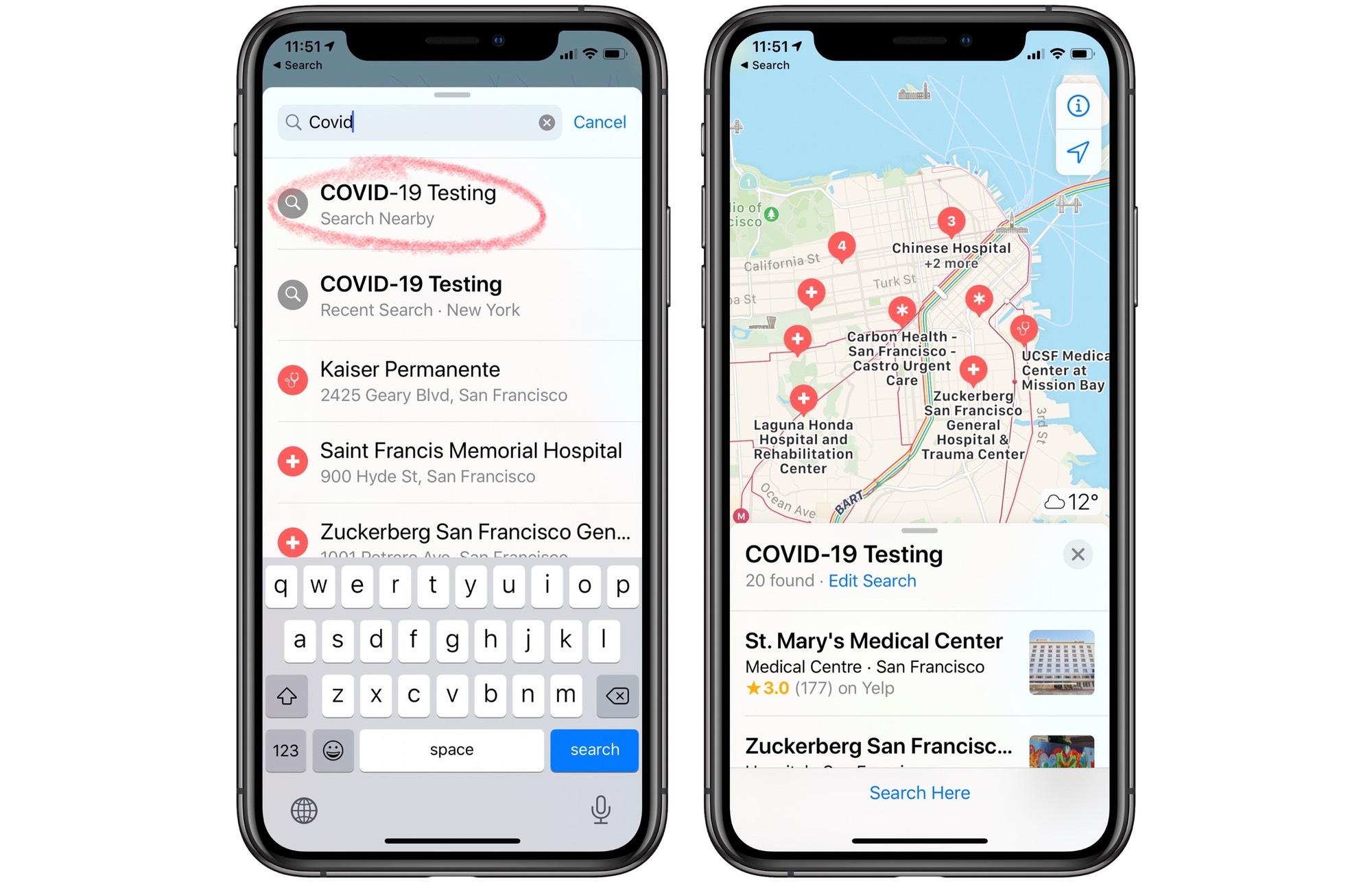 Tìm kiếm Apple Bản đồ để hiển thị tất cả các trạm kiểm tra COVIDOS19 gần bạn.
