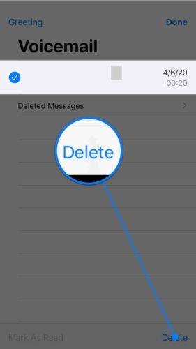 eliminar el correo de voz en el iphone