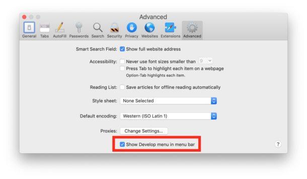 Habilitar el menú Desarrollar en Safari para Mac le permite ver la fuente de las páginas
