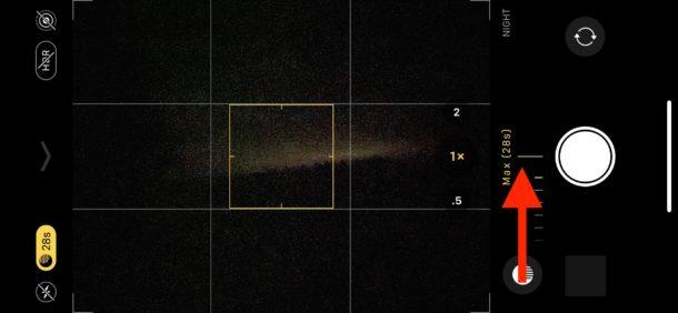 Ajuste del tiempo de exposición en la cámara de modo nocturno para iPhone