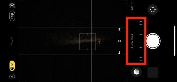 Desliza para ajustar el tiempo de exposición en la cámara de modo nocturno para iPhone