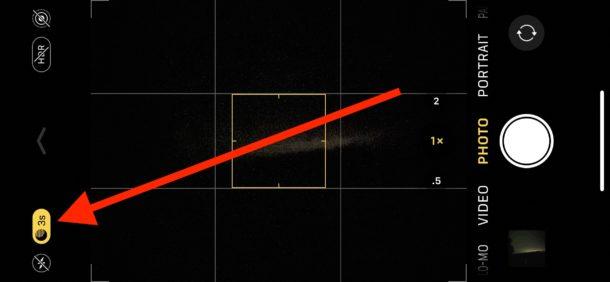 Cómo ajustar el tiempo de exposición en la cámara de modo nocturno para iPhone