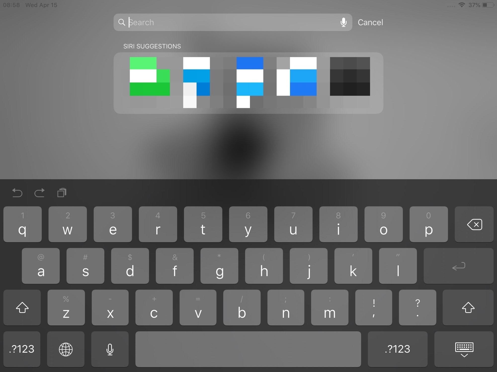 Standart iPad klaviaturası. Bu iOS 12-dir.