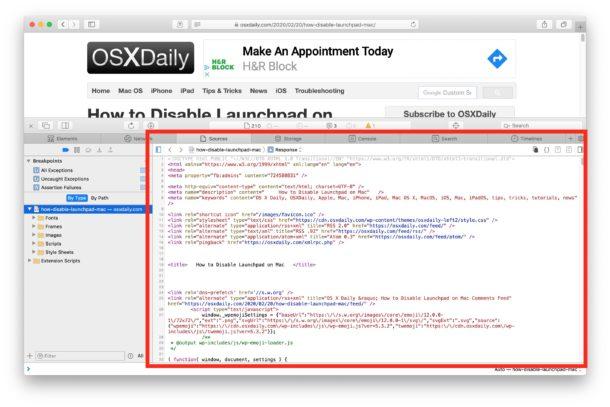 Visualización de la fuente de la página en Safari para Mac