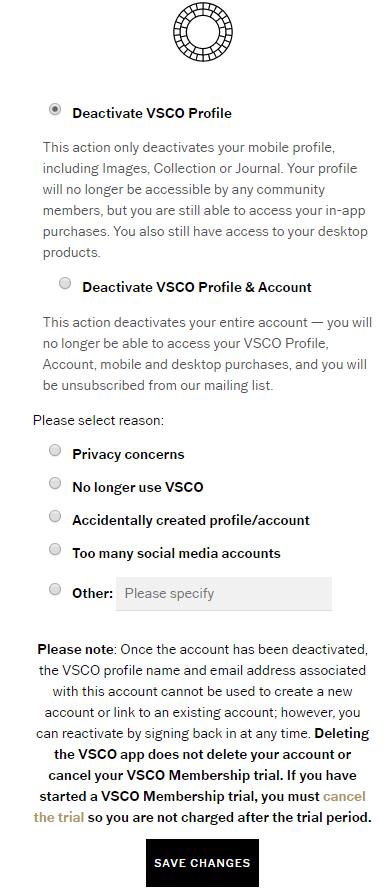 Cách xóa tài khoản VSCO của bạn 3