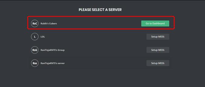 seleccionar un servidor en mee6