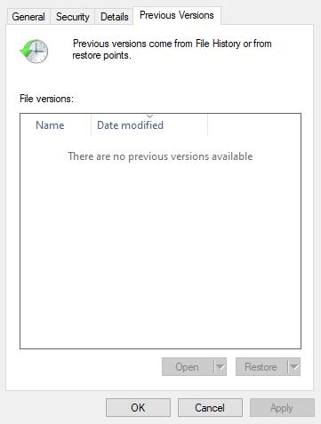 Microsoft layihəsinin Əvvəlki Versiyalar sekmesinde faylı açmayacaqdır
