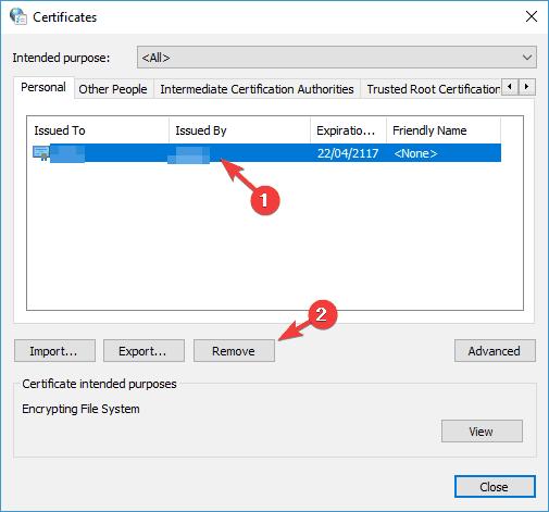 the Windows Kriptoqrafik xidmət təminatçısı səhv açarının olmadığını bildirdi