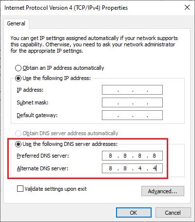 DNS server ünvanlarınızı dəyişdirin