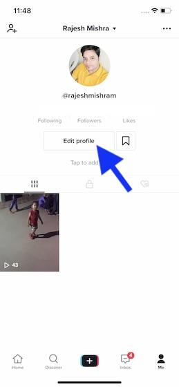 Toca Editar perfil