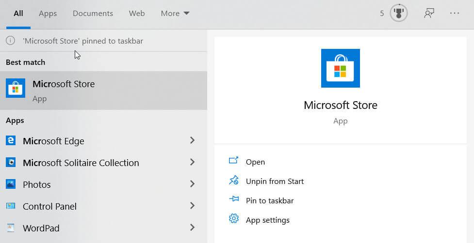 Abra Microsoft Store desde el menú Inicio