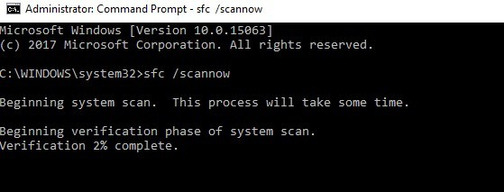 sfc scanning hardware device not connected