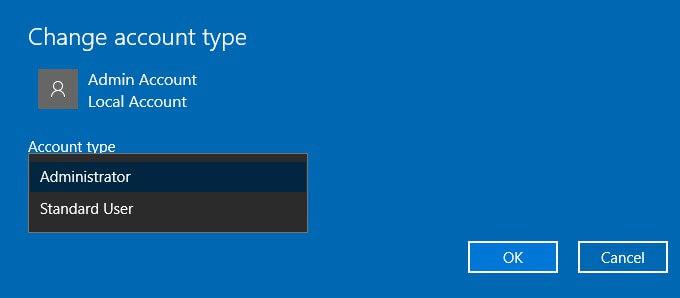 hesap türü hatasını değiştir 0x80070780