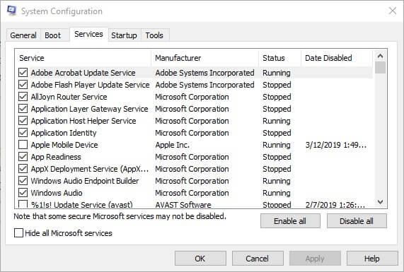 hizmetler hatası 0x80070780