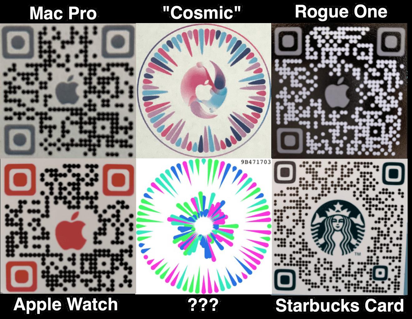 Nueva circular Apple Códigos QR, así como códigos QR más tradicionales, para usar en la aplicación Gobi. Crédito: Josh Constine