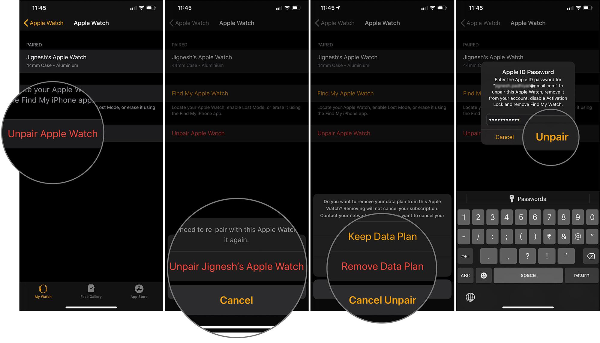 Elija la opción e ingrese la contraseña para desvincular Apple Watch en iOS 13