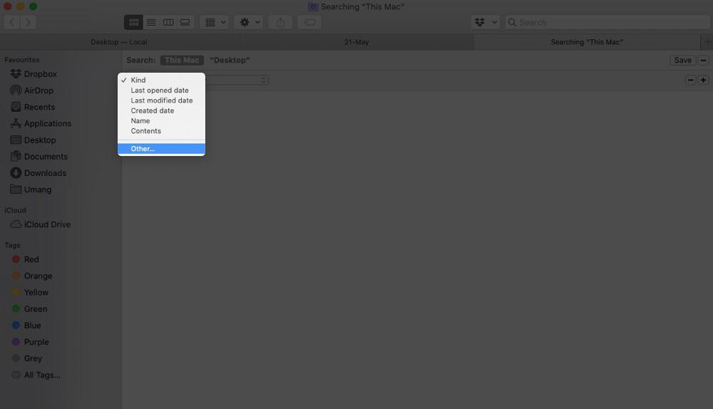 Haga clic en Tipo desplegable y seleccione Otros en Finder en Mac