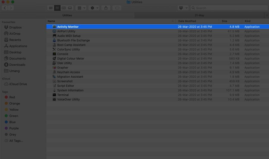 Haga clic en Activity Monitor en Mac