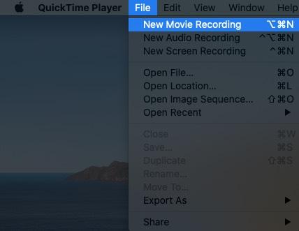 Haga clic en Archivo desde la barra de menú de QuickTime y luego haga clic en Nueva grabación de película