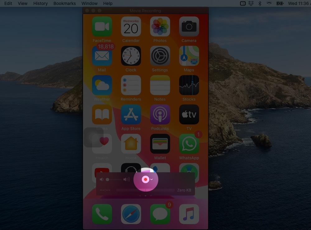 Haga clic en el botón Grabar para iniciar la grabación de pantalla de iPhone en Mac