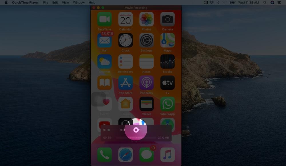 Haga clic en el botón Detener para detener la pantalla de grabación de iPhone en iPhone