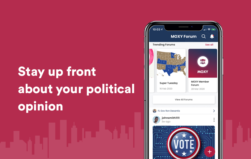 Diga sus opiniones políticas con la aplicación MOXY