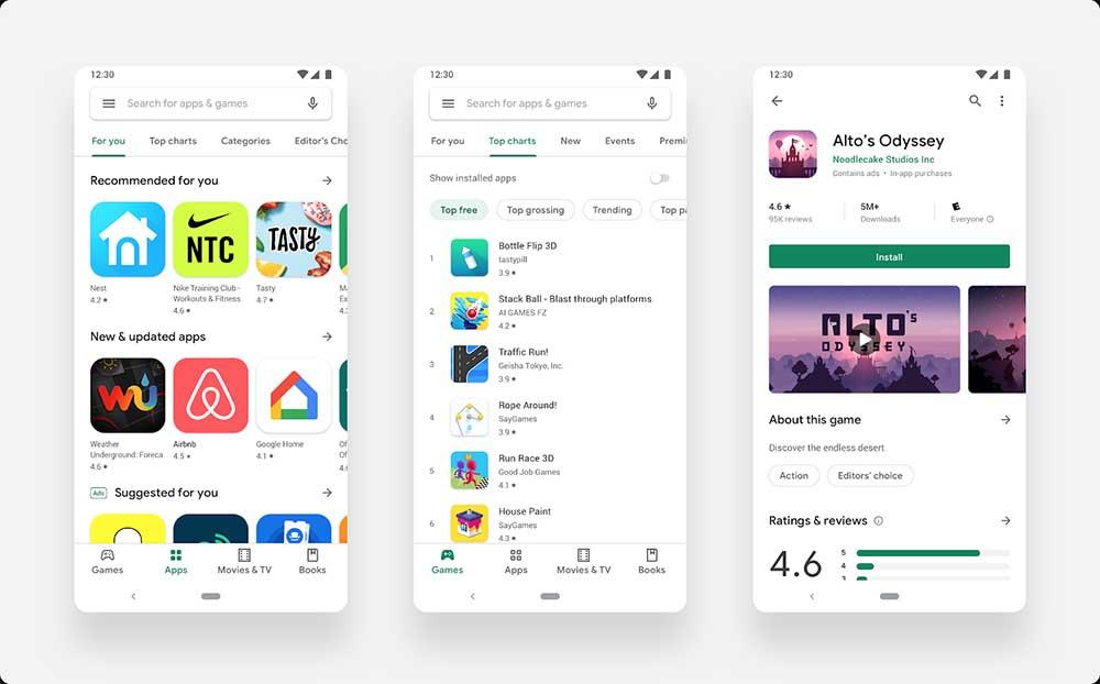 Desain Bahan Desain baru oleh Google Play Store akhirnya datang ke semua