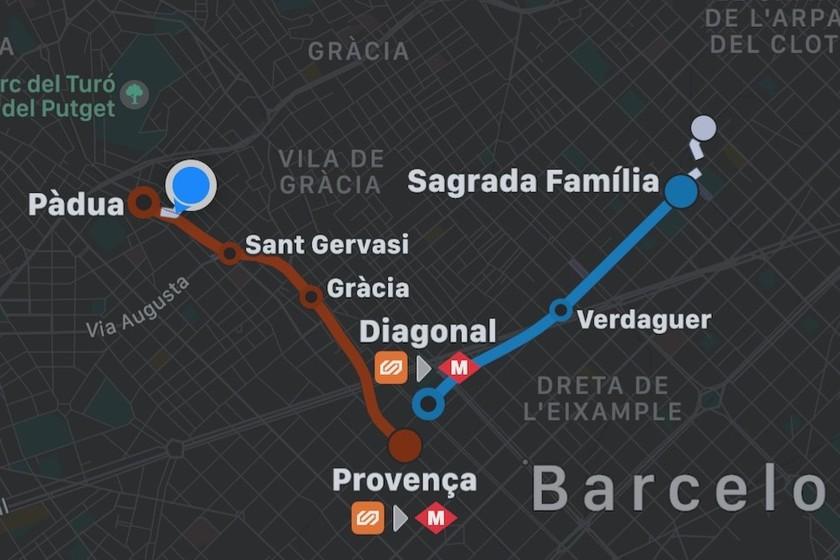 Barcelonan julkinen liikenne on integroitu. Apple map