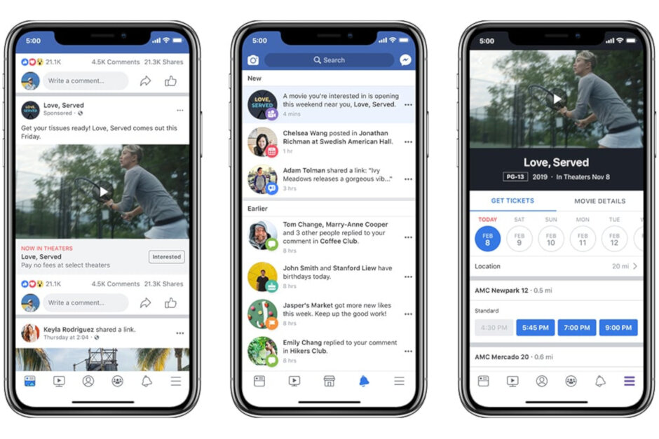 Facebook users will now see reminders and showtimes in movie ads