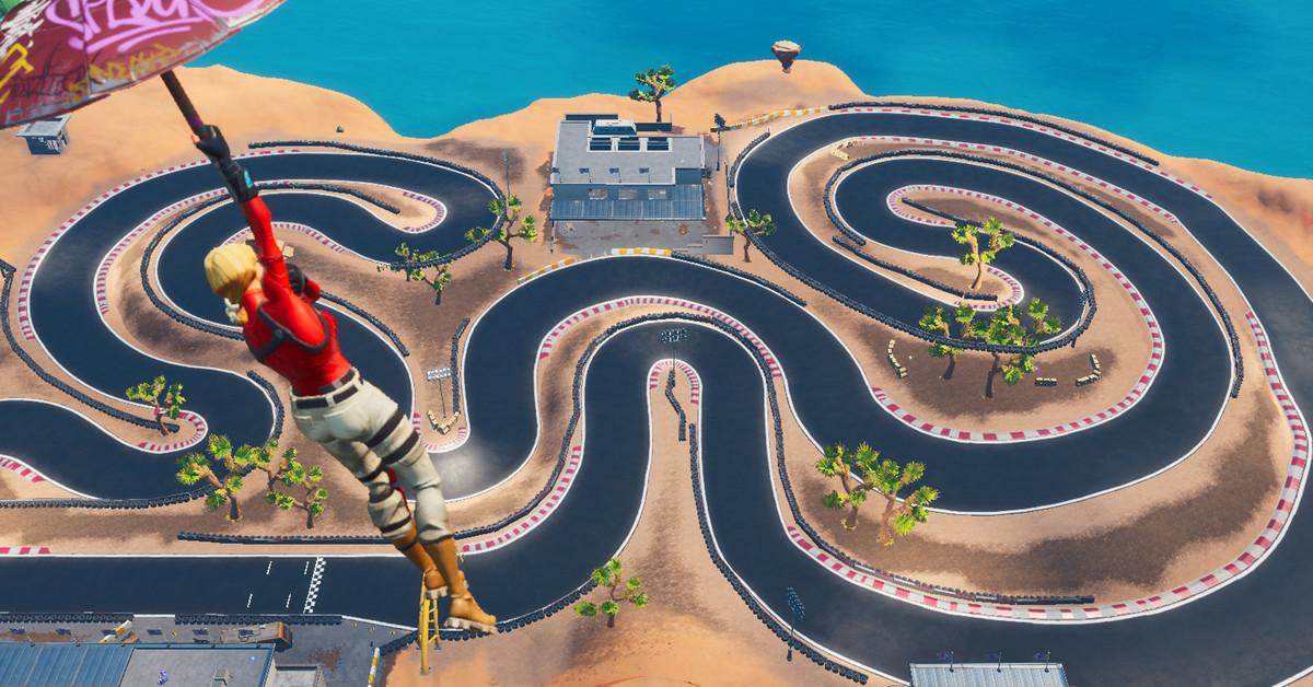 Fortnite hướng dẫn: hoàn thành một vòng đua trong nhiệm vụ Storm Racers 3